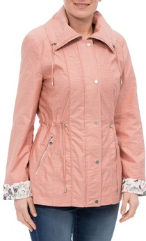 Anna Rose Lightweight Printed Cuff Coat - Peach
