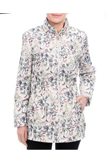 Anna Rose Roll Sleeve Garden Print Lightweight Coat