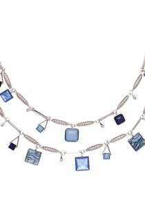 Double Layer Necklace - Silver/Blue
