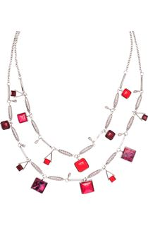 Double Layer Necklace - Silver/Claret