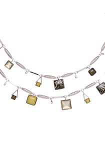 Double Layer Necklace - Silver/Multi