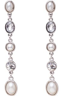 Diamante And Faux Pearl Drop Earrings