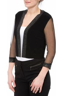 Embellished Mesh Sleeve Open Cover Up - Black