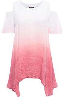 Cold Shoulder Ombre Dip Hem Tunic - Pepper/White