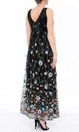 Border Garden Embroidered Mesh Maxi Dress