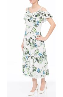 Tiered Cold Shoulder Floral Midi Dress