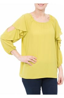 Cold Shoulder Ruffle Georgette Top