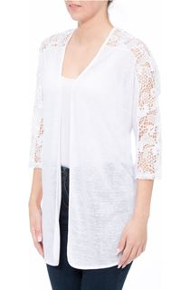 Lace Trim Open Cardigan - White