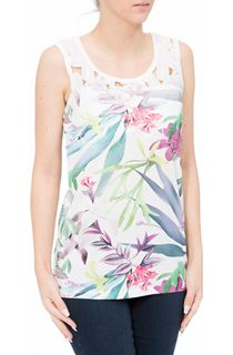 Crochet Trim Floral Print Sleeveless Top