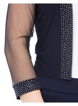 Embellished Mesh Sleeve Open Cover Up