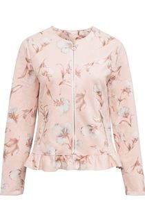 Printed Suedette Unlined Zip Jacket