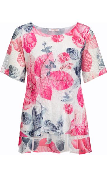 Anna Rose Layered Printed Short Sleeve Top