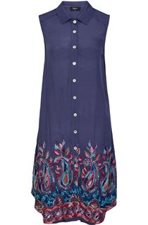 Sleeveless Embroidered Longline Tunic