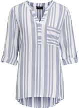 Turn Sleeve Striped Cotton Top
