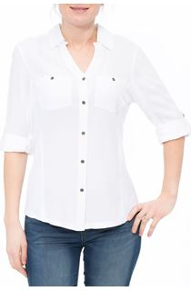 Fitted Washed Turn Sleeve Shirt - White