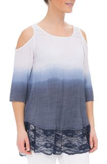 Cold Shoulder Ombre Dipped Tunic