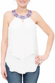 Embroidered Sleeveless Layered Georgette Top - Ivory/Hot Pink