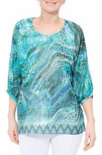 Animal Printed Georgette And Jersey Top
