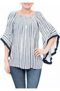 Boho Striped Wide Sleeve Top