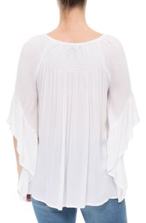 Wide Bell Sleeve Crepe Top - White