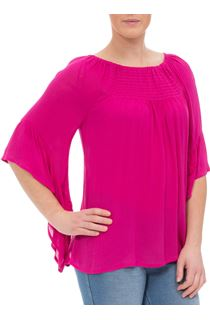 Wide Bell Sleeve Crepe Top - Hot Pink