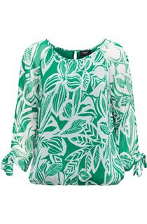 Leaf Printed Tie Sleeve Georgette Top