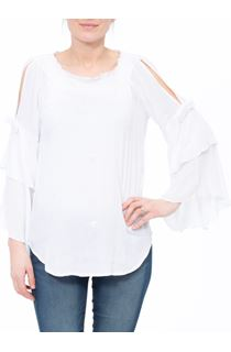 Boho Three Quarter Bell Sleeve Smocked Top - White