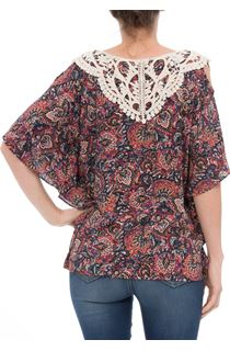 Applique Detail Cold Shoulder Print Top