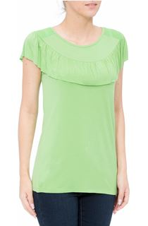 Ruffle Round Neck Jersey Top