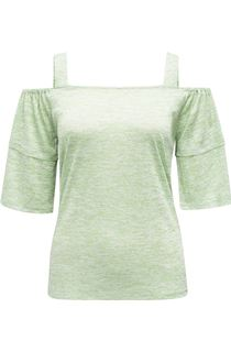 Cold Shoulder Jersey Top - Green