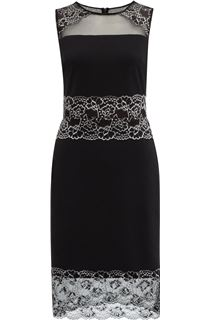 Sleeveless Lace Trim Midi Dress