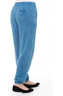 Elasticated Cuff Loose Fitting Embroidered Trousers