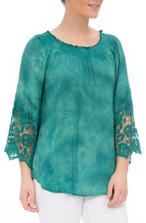 Lace Trim Three Quarter Sleeve Tie Die Top - Emerald