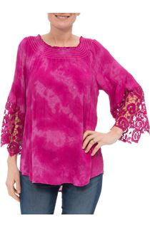 Lace Trim Three Quarter Sleeve Tie Die Top - Hot Pink