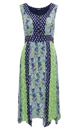 Sleeveless Paisley Panelled Midi Dress