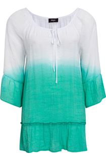 Dip Dye Three Quarter Sleeve Top