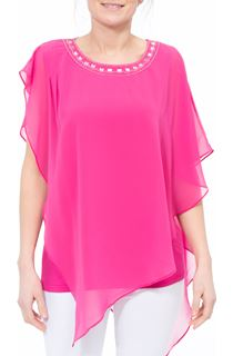Embellished Chiffon Asymmetric Hem Top
