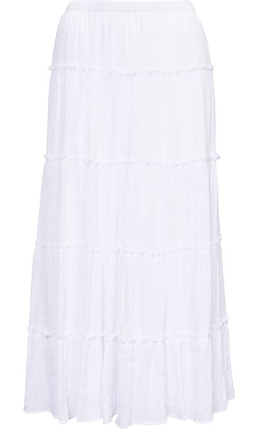 Crinkle Tiered Pull On Maxi Skirt
