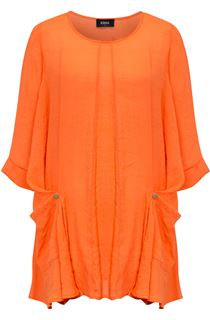 Oversized Dip Hem Tunic - Orange