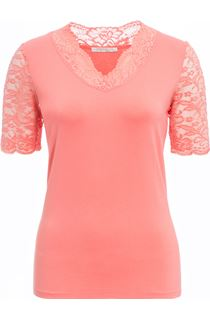 Anna Rose Lace Trim Jersey Top