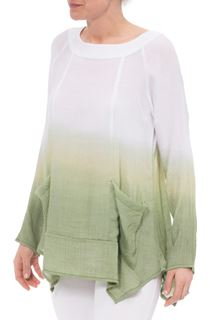 Long Sleeve Dip Dye Tunic - Khaki/White