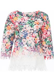 Anna Rose Printed Crochet Top