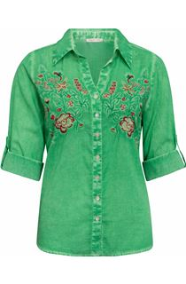 Anna Rose Embroidered Turn Sleeve Washed Blouse