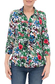 Anna Rose Garden Print Jersey Blouse With Necklace