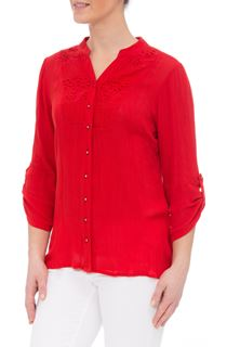 Anna Rose Three Quarter Sleeve Crepe Blouse