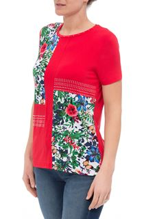 Anna Rose Floral Panelled Short Sleeve Top