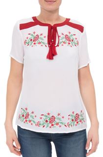 Anna Rose Embroidered Tassel Top