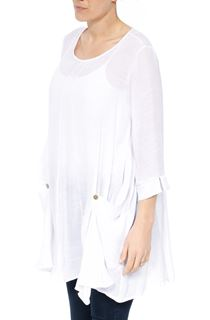 Oversized Dip Hem Tunic - White