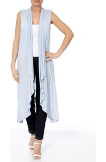Longline Lace And Jersey Open Cover Up