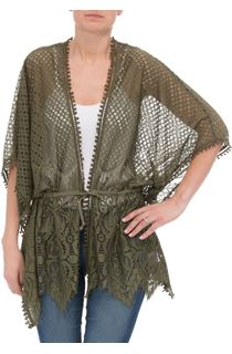 Self Tie Lace Cover Up - Khaki